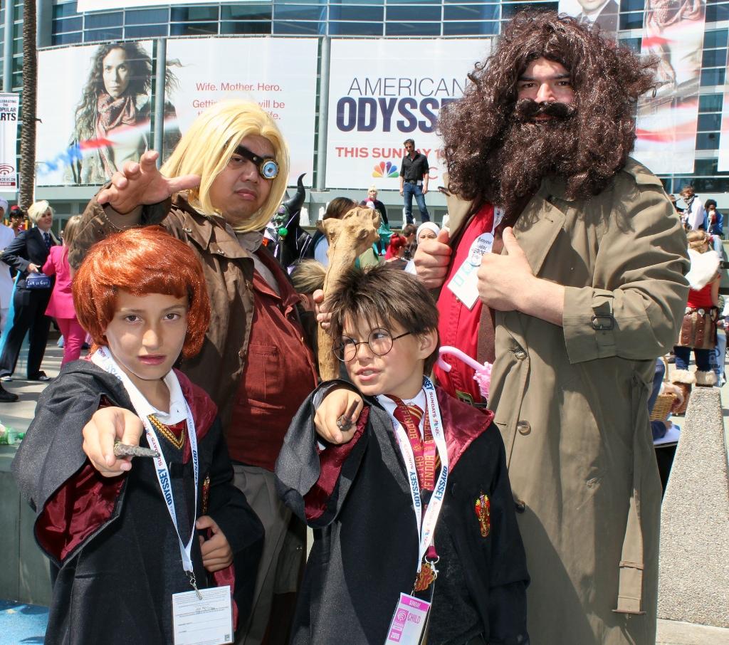Mad-Eye Moody, Hagrid, Ron, and Harry